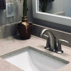 Bathroom Vanity in Lunar Pearl by Corian Quartz.